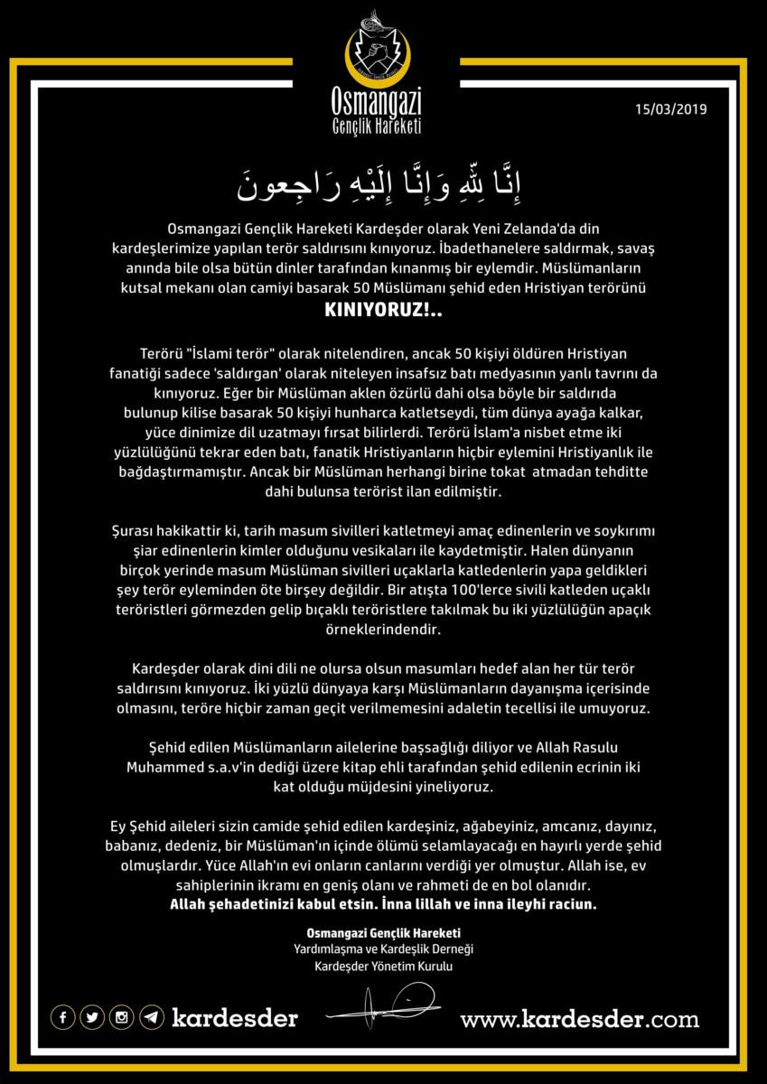 Yeni Zelanda katliamı taziye mesajı